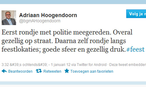 Het is fijn in Oldebroek, meldt de burgemeester op Twitter.