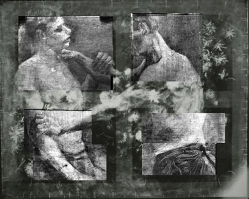 Het begin van de ontdekking; een röntgenopname uit 1998 waaruit bleek dat onder het stilleven een schilderij met twee worstelaars zit. Van Gogh schreef eerder over het bestaan van dit schilderij. het Kröller-Müller heeft die brief in beztt. Verder onderzoek naar onder meer de pigmenten in de verf en de manier van schilderen heeft aangetoond dat het om een echte Van Gogh gaat.